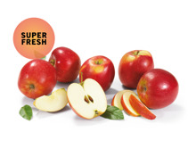Äpfel rot gepackt