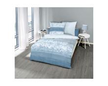 Bettwäsche blau mit zartem Blumenmuster