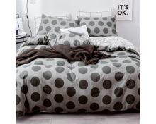 Bettwäsche grau mit grossen Punkten und weissem Karomuster