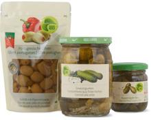 Bio-Essiggemüse und -Oliven