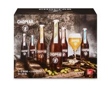 Chopfab Bier, 12 x 33 cl + 2 Gläser