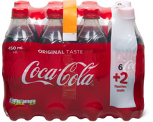 Coca-Cola im 8er-Pack, 6 + 2 gratis, 8 x 450 ml
