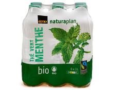 Coop Naturaplan Bio-Thé vert Menthe, Fairtrade Max Havelaar, 6 x 1 Liter