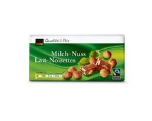 Coop Tafelschokolade Milch-Nuss, Fairtrade Max Havelaar, 10 x 100 g, Multipack