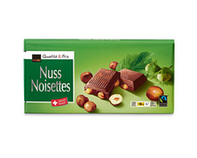 Coop Tafelschokolade Milch-Nuss, Fairtrade Max Havelaar, 12 x 100 g, Multipack