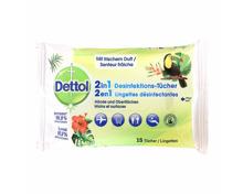 Dettol 2 in 1 Desinfektionstücher, 15 Stück