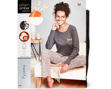 Ellen Amber Damen-Pyjama anthrazit, Bio Cotton