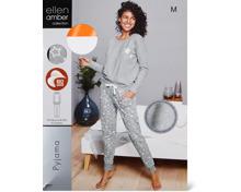 Ellen Amber Damen-Pyjama grau, Bio Cotton