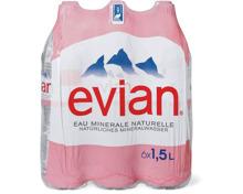 Evian im 6er-Pack, 6 x 1.5 Liter und 6 x 75 cl