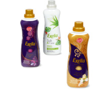 Exelia-Weichspüler in Flaschen und -Wäschedüfte