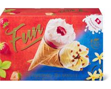 Fun Cornets Vanille und Erdbeer in Sonderpackung