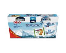 Hirz Hüttenkäse Nature, 2 x 200 g, + Cracker gratis