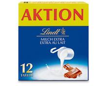 Lindt Tafelschokolade Milch extra, 12 x 100 g, Multipack
