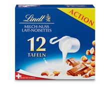 Lindt Tafelschokolade Milch-Nuss, 12 x 100 g, Multipack