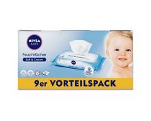 Nivea Baby Feuchttücher Soft & Cream, 9 x 63 Stück, Multipack