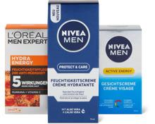 Nivea Men- und L'Oréal Men Expert-Gesichtspflege