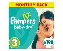 Pampers Baby-Dry Grösse 3 Monatsbox, 198 Windeln
