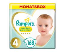 Pampers Gr. 4 Premium Protection Maxi 9-14 kg Monatsbox 168er