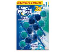 WC Frisch Blau Kraft-Aktiv Ozean-Frische, 3 x 50 g, Multipack