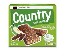 Z.B. Coop Country Riegel Soft Snack Chocolat-Apfel, 9 x 28 g<br /> 2.95 statt 3.95