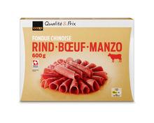 Z.B. Coop Fondue chinoise Rind, Schweiz, tiefgekühlt, 600 g 31.60 statt 39.50