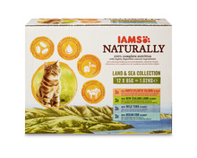 Z.B. Iams Naturally Adult, Land & Sea Collection, 12 x 85 g 9.15 statt 18.30