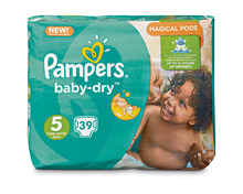 Z.B. Pampers Baby-Dry, Grösse 5, Junior, 3 x 39 Stück<br /> 33.60 statt 50.40