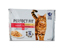 Z.B. Perfect Fit Cat Adult 1+, mit Rind & Huhn in Sauce, 4 x 85 g 3.95 statt 4.95