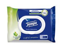 Z.B. Tempo feuchte Toilettentücher Aloe vera sanft & sensitiv