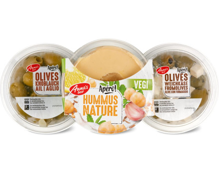 Alle Anna's Best-Hummus, -Antipasti, und -Oliven