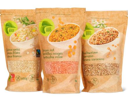 Alle Bio-Hülsenfrüchte, -Getreidekörner, -Quinoa und -Couscous