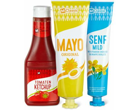 Alle M-Classic-Senfe, -Mayonnaisen, -Grillsaucen und -Ketchups