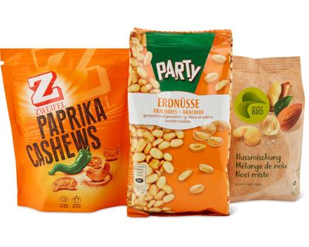 Alle Party-, Zweifel- und Bio-Nüsse geröstet