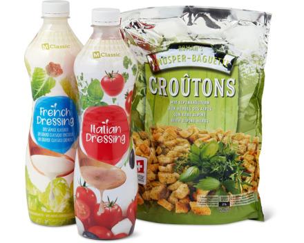 Alle Salatsaucen fixfertig ungekühlt und Salat-Croûtons