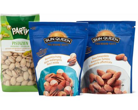 Alle Sun Queen-Premium Nuts- und -Party-Nüsse sowie -Nussmischungen gesalzen
