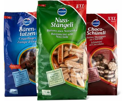 Bärentatzen, Nuss-Stängeli, Butter Sablés und Choco-Schümli