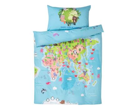 Bettwäsche Weltkarte mit Tieren
