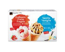 Coop Cornet Erdbeere/Vanille, Fairtrade Max Havelaar, 16 x 125 ml
