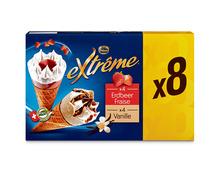 Frisco Extrême Cornets Erdbeere/Vanille, 8 x 145 ml