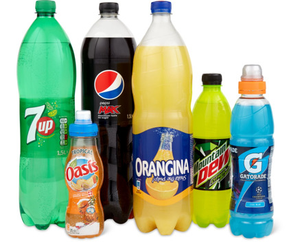 Gesamtes Orangina-, Pepsi-, 7up-, Oasis-, Mountain Dew- und Gatorade-Sortiment