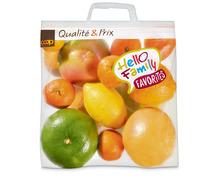 Multibag oder Tragtasche füllen mit diversen Zitrusfrüchten