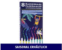 RADIERBARE FASERMALER, 8-TEILIG
