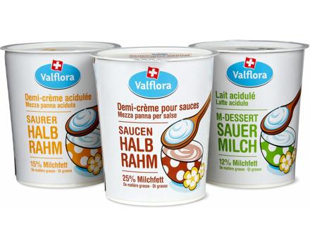 Valflora-Saucenhalbrahm, -Saurer Halbrahm und -M-Dessert Sauermilch