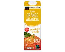 Z.B. Coop Orangensaft, Fairtrade Max Havelaar, 4 x 1 Liter 3.10 statt 5.20