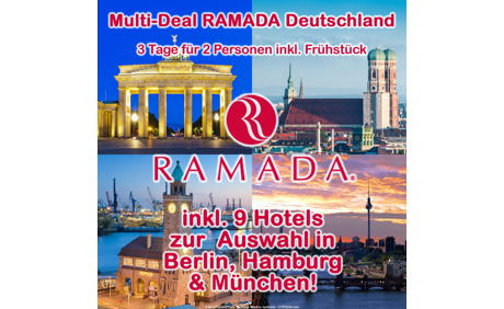 3 tage in einem von 9 ramada hotels in berlin hamburg m nchen 45 rabatt. Black Bedroom Furniture Sets. Home Design Ideas