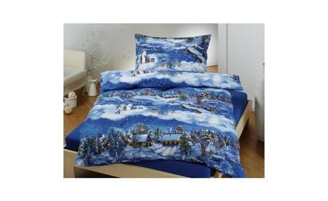 Biber Bettwäsche Winter Landschaft In Blau 28 Rabatt Lehner