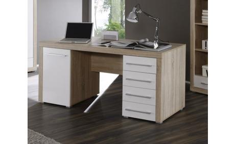 charlie schreibtisch sonoma eiche weiss ab. Black Bedroom Furniture Sets. Home Design Ideas
