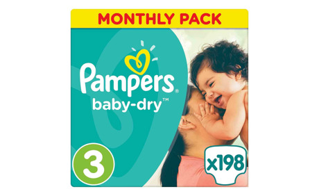 Pampers Baby-Dry Grösse 3 Monatsbox, 198 Windeln