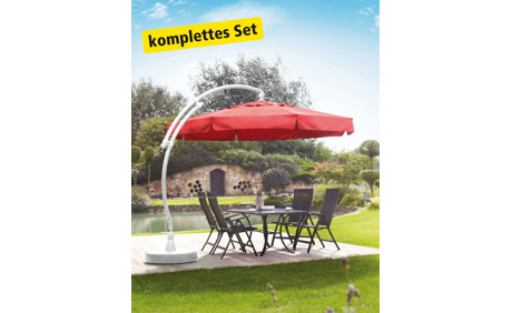sun garden ampelschirm rot weiss inkl schutzh lle schirmfuss und lampe otto 39 s onlineshop. Black Bedroom Furniture Sets. Home Design Ideas
