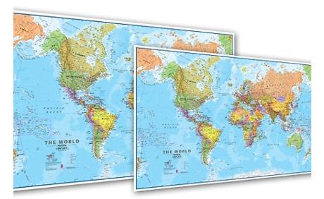 Weltkarte Auf Laminat Leinwand